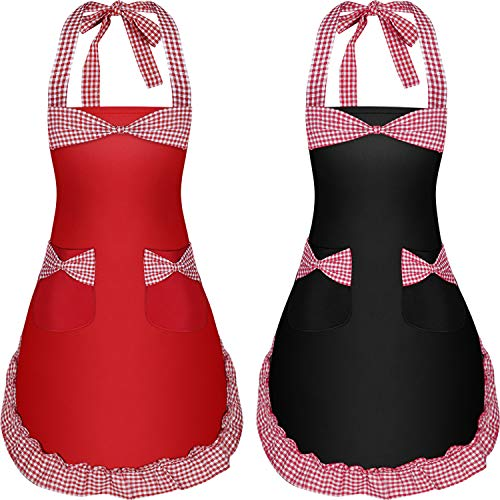 Syhood 2 Pieces Women Aprons with Pockets Lovely Retro Cotton Kitchen Aprons for Women Cooking Housework and Christmas Supplies