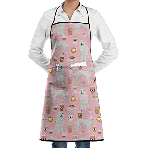 SuFuncc Great Pyrenees Dog Cute Coffee Pink Kitchen Apron Cooking Aprons Chef Aprons Adjustable With Pocket Long Ties For Cooking Baking Gardening Crafting BBQ For Men&Women