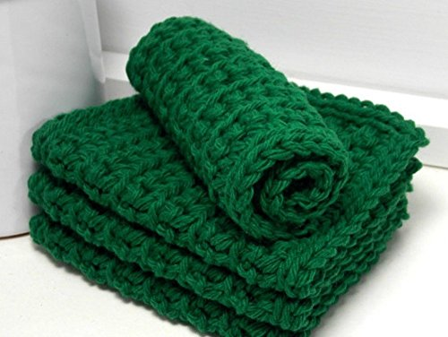 Green 4 Inch x 7 Inch Rectangular Crochet Cotton Dishcloths Set of 4