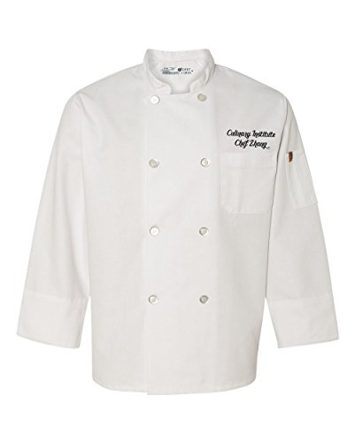 KAMAL OHAVA Chef Designs Mens Ten Button White Chef Coat With Custom Text Large