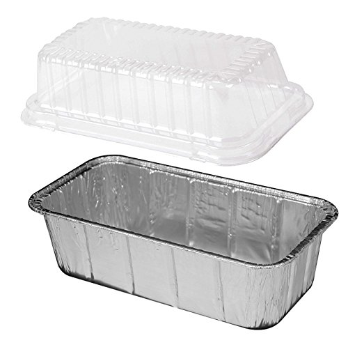 Handi-Foil 2 lb Aluminum Foil LoafBread Pans and Clear HIGH Dome Lids 100 Sets -Disposable Tin pack of 100