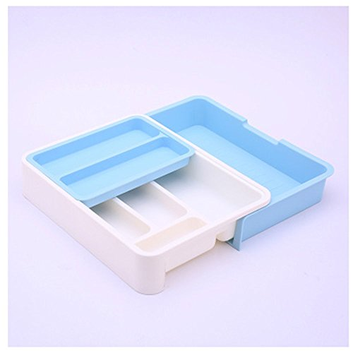 Stock Show ExpandableStackableMovableAdjustable Plastic Cutlery Tray Kitchen Utensil Drawer Organizer Tableware Holder Silverware Store Blue