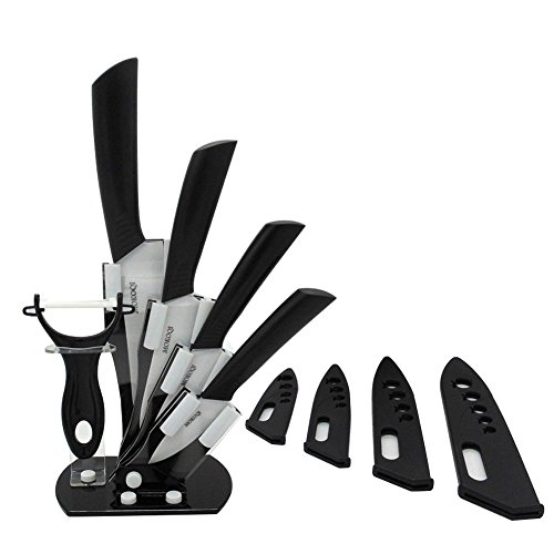 MOKOQI Professional 7 Piece Ceramic Kitchen Knife Cutlery and Peeler Set - Includes 6 Chefs 5 Slicing 4 Paring 3 Fruit Knife and One Peeler Plus Black Block Scabbard White