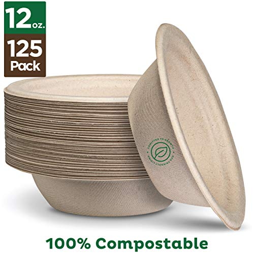 100 Compostable 12 oz Paper Bowls 125-Pack Heavy-Duty Quality Natural Disposable Bagasse Eco-Friendly Biodegradable Made of Sugar Cane Fibers