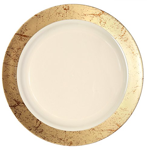 Party Joy 'I Can't Believe It's Plastic' 50-Piece Plastic Dinner Plate Set  Marble Collection  Heavy Duty Premium Plastic Plates for Wedding Parties Camping More Gold