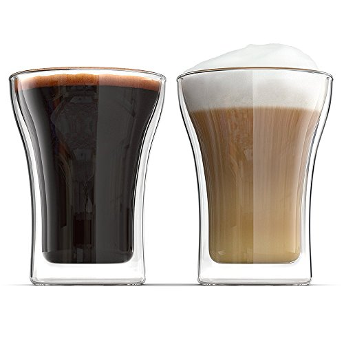 Anchor and Mill Double Walled Coffee Glasses 75 Ounce Set of 2 Cappuccino Cups Latte Espresso Nespresso Value Plus Set