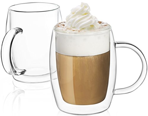 JoyJolt Double-Wall Insulated Glass 135-Ounce  Double Walled Glasses Set Of 2  Double Wall Coffee Cups  Tea Mugs With Handle  Durable Stylish Dishwasher Microwave Safe up to 350°F