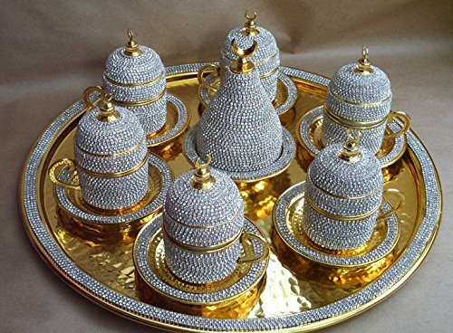 Crystal Coated Turkish Coffee Set for Six Handmade Swarovski Crystal Coated Coffee Set Coffee Cup Set Turkish Coffee Set for Two Luxurious Turkish Coffee Set for Six Complete Turkish Coffee Set Turkish Coffee Set for Six