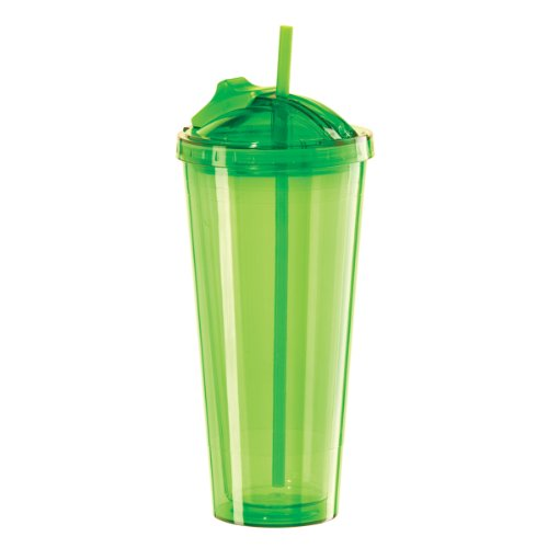 Oggi 735711 Double Walled Tumbler with Slide-Open Straw 20-Ounce Green