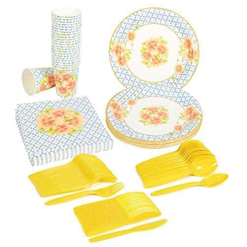 Disposable Dinnerware Set - Serves 24 - Vintage Floral Party Supplies - Includes Plastic Knives Spoons Forks Paper Plates Napkins Cups