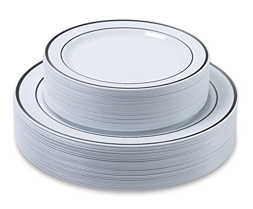 Disposable Plastic Plates - 60 Pack - 1025 Dinner and 75 Salad Combo - Silver Trim Real China Design - Premium Heavy Duty - By Ayas Cutlery Kingdom