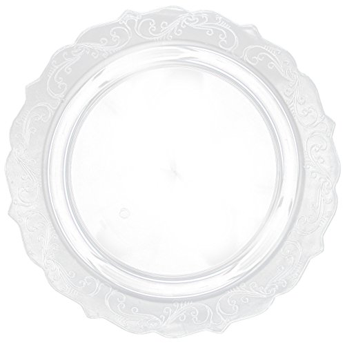 Posh Setting Elegant Collection 40 Pack China Look 1025 Inch Clear Plastic dinner Plates Fancy Disposable Dinnerware