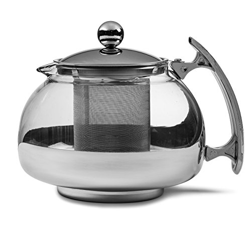 Chefs Star Premium Glass Tea Pot Infuser - Stainless Steel 16 oz