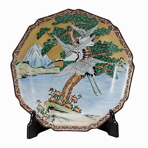 Jpanese traditional ceramic Kutani ware Decorative Plate with a stand Fuji and crane With wooden box ktn-K5-1390