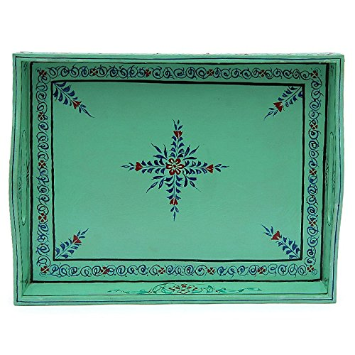 Indian Traditional Hand Painted Serving Large Tray Serving Sea Green