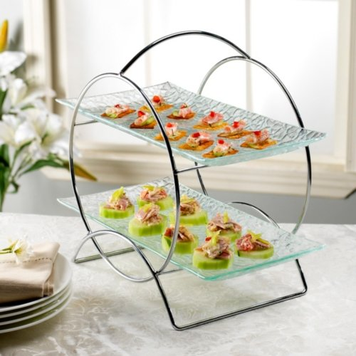 2 Tier Round Server Stand with Trays - Tiered Serving Platter - Perfect for Cake Dessert Shrimp Appetizers More