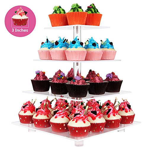 4 Tier Square Clear Acrylic Cupcake display stands with BASE and screw connection stronger and more stableChristmas Wedding Birthday Party cake stand Food display shelf 4 Tier Square with BASE