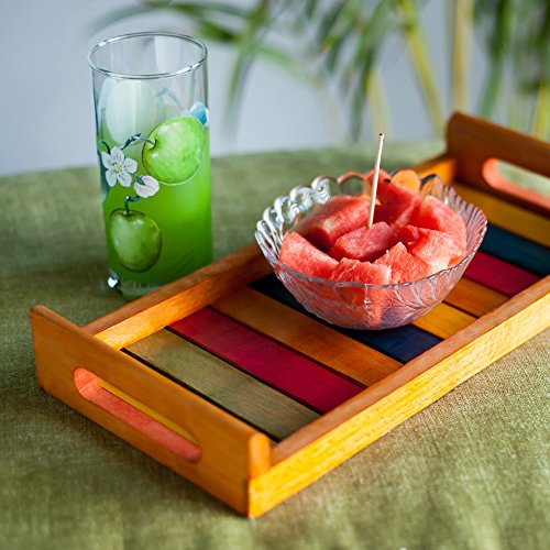 ExclusiveLane Multicoloured Wooden Tray Orange -Serving Tray Platter Breakfast Tray Decorative Tray Table Top Bed Tray Tableware