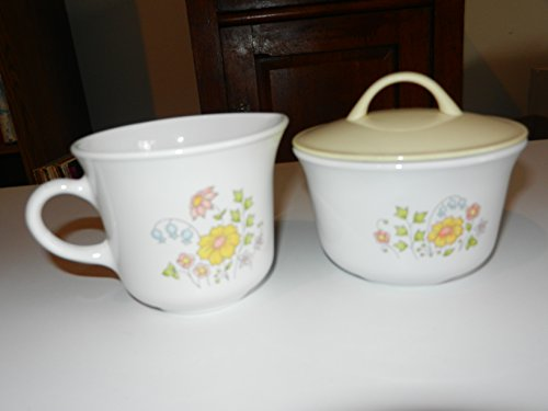 1970s Vintage Corelle Corning Meadow Creamer Sugar Set - NO LIDS