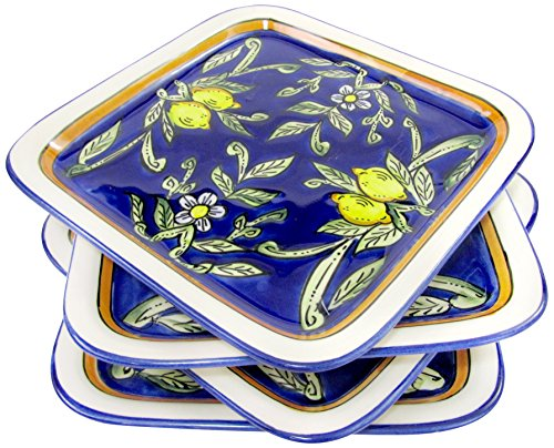 Le Souk Ceramique CQ37 Stoneware Square Plates Set of 4 Citronique