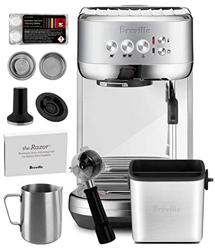 Breville Bambino Plus BES500BSS Brushed Stainless Steel Espresso Machine  Manufacturers Warranty  Knock Box Mini Included