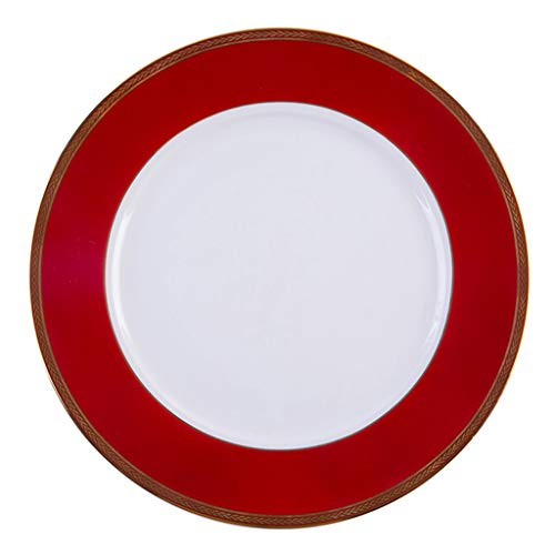 Light luxury China Red Dinner Plate with Golden Rim Bone China Plates Western Tableware Steak Plate Salad Plate Pasta Plate Table Decoration Size  105 inches