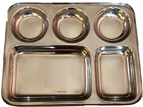 Zmatoo Set of Four Canteen stainless steel five compartment dinner lunch plate TrayDivided Dinner Tray