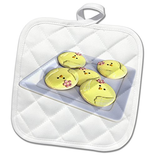 3dRose Boehm Graphics Holiday Easter - Plate of Yellow Easter Chick Cookies - 8x8 Potholder phl_256698_1