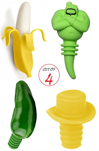 Set of 4 Silicone Bottle Stoppers – Champagne and Beverage Bottle Stoppers-Superior Build Universal Fit-Easy to Use-BPA Free