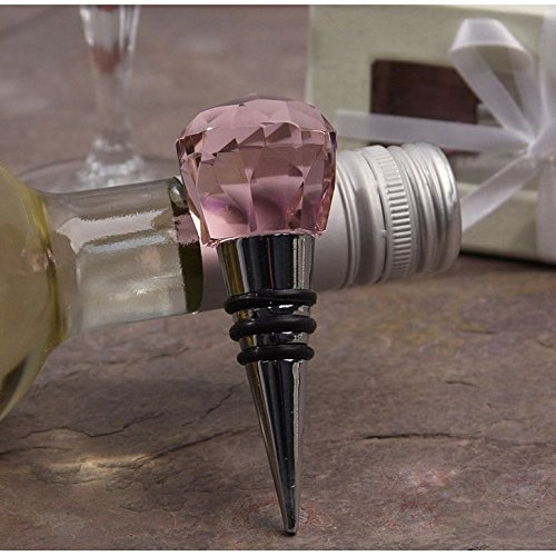 Lorren Home Trend Murano Pink Facet Stainless Steel Bottle Stopper