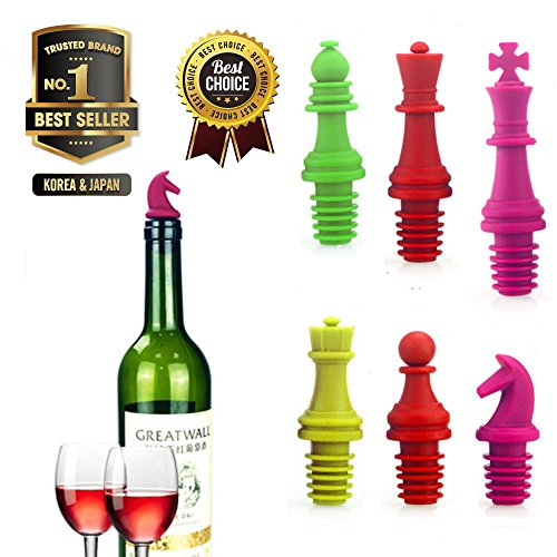 Wine Stopper Novelty Chess Silicone Wine Bottle Stopper Set Reusable Silicone Caps Beer Sealer Cover for Wine Beer Champange Alcohol Sparkling Wine  Set of 6