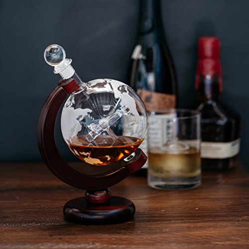 Denizli Spirits 25 Oz Handmade Vodka or Liquor Etched Globe Decanter Set with Wooden Stand and Bar Funnel Wood Stand  Plane