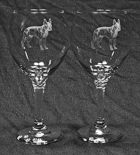 Boston Terrier Dog Laser Etched Red Wine Glass Set 2 20R