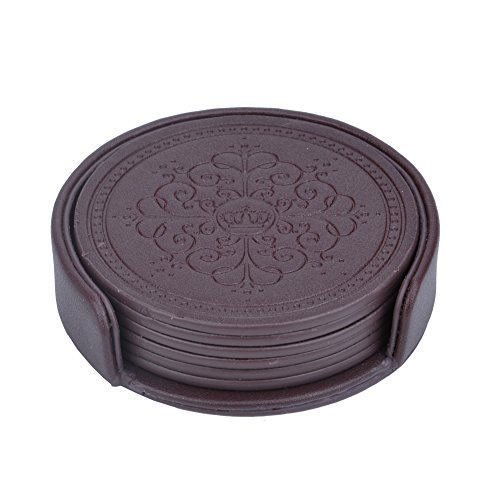 HappyDavid Leather Round Placemats Cup Mat Set of 6 with Coaster Holder for Fine Wine Beer or Any Beverage Use on Bars or Fine Furniture in Your Kitchen brown round