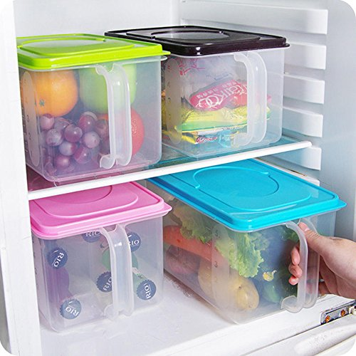 Kitchen Food Container Box Food Crisper Refrigerator Storage Box with Handle and Date Table