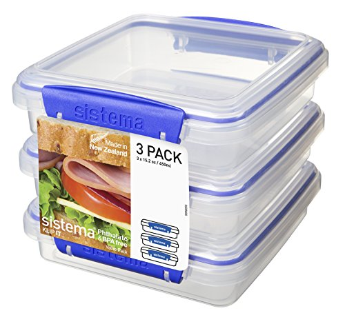 Sistema Klip It Collection Sandwich Box Food Storage Container 152 Ounce19 Cup each Set of 3