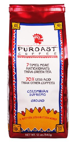 Puroast Low Acid Coffee Colombian Supremo Blend Drip Grind 12-Ounces Bags Pack of 2