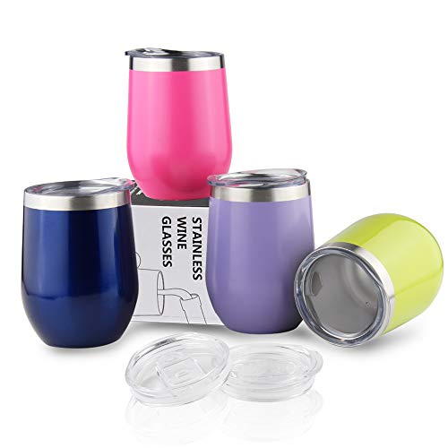 4Packs Travel Coffee Mugs 12OZ Insulated Wine Tumbler with Lids Unbreakable Vacuum Bulk Drinking Cup for WhiskyCocktailsIce Cream - Mermaid Sparkle