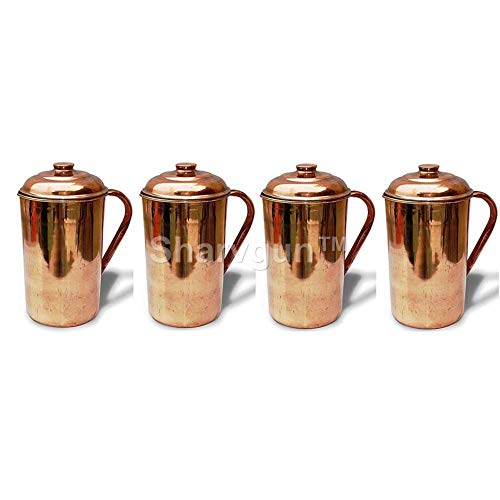 Sharvgun Pure Copper Water Jug 50 Oz Capacity Storage Container Copper Pitcher for Ayurveda Health Benefit- Set of 4
