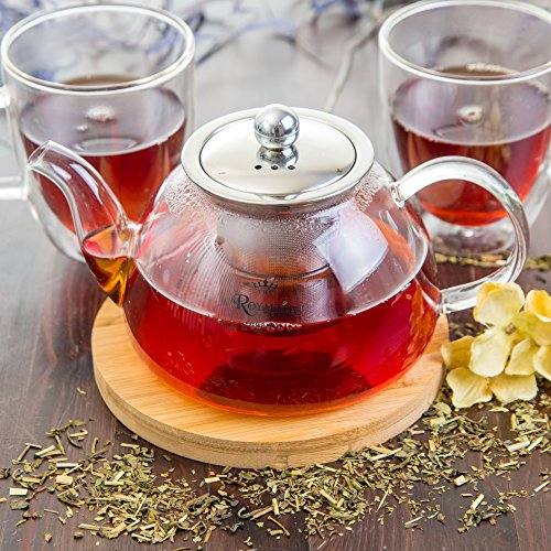 Glass Teapot with Infuser for Stove Top or Microwave  This Stainless Steel Strainer is Designed for Bag or Loose Leaf Tea  Free Bamboo Trivet Included for Limited Time - Large 40 oz Pot - RoyalTea