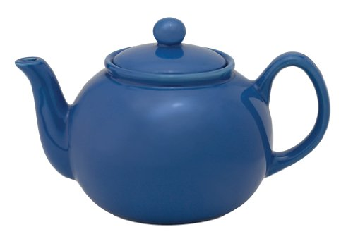 HIC Teapot with Stainless Steel Infuser Ceramic Stoneware Blueberry 6-Cup 32-Ounce Capacity