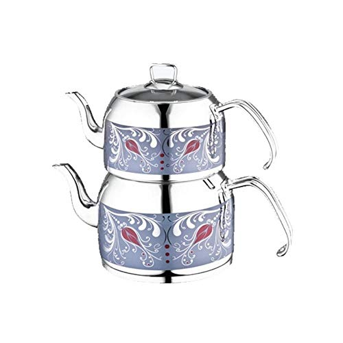 Stainless Steel Turkish Teapot for 2 People Qt Blue