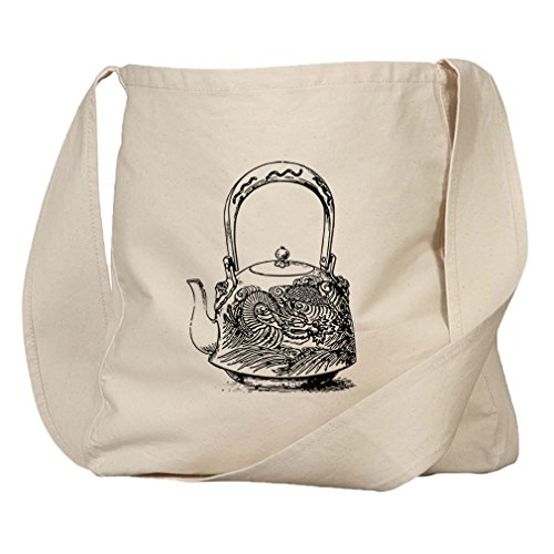 Market Bag Organic Canvas Japanese Dragon Teapot Vintage Look By Style In Print