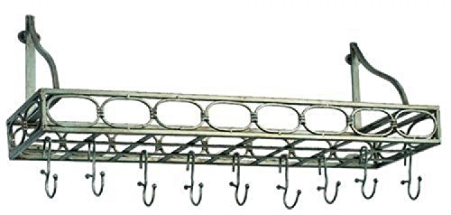 Old Dutch 36 x 9 x 1175 Antique Pewter Bookshelf Pot Rack w8 Hooks