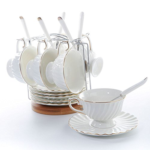 Porcelain Tea Cup and Saucers Set Ceramic Coffee Cup Set with Saucers and Spoon B Style 6