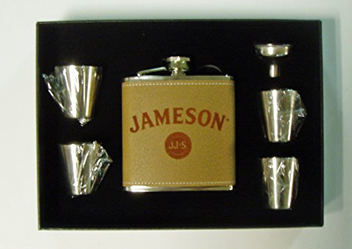 Jameson Whiskey engraved leather covered stainless steel 6 oz flask with 4 shot glasses and a funnel in a black presentation box
