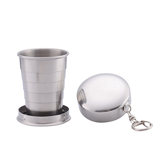 Telescopic Collapsible Stainless Steel Shot Glass with Key Ring 2oz