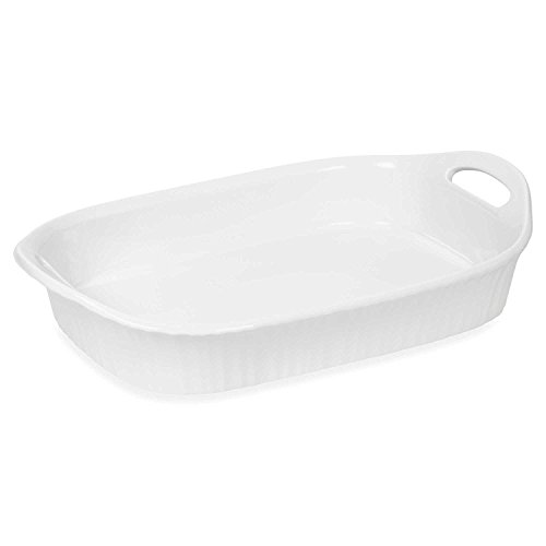 CorningWare French White III 3-Quart Ceramic Oblong Casserole Dish with Sleeve  Oven Microwave Refrigerator and Freezer Safe
