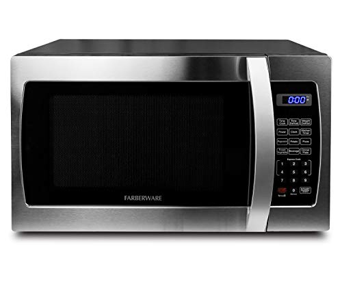 Farberware Professional FMO13AHTBKE 13 Cu Ft 1000-Watt Microwave Oven with Blue LED Lighting Stainless Steel