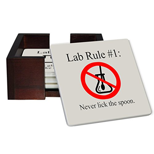 Lab Rules 4-Piece Sandstone Coaster Set - Caddy Included